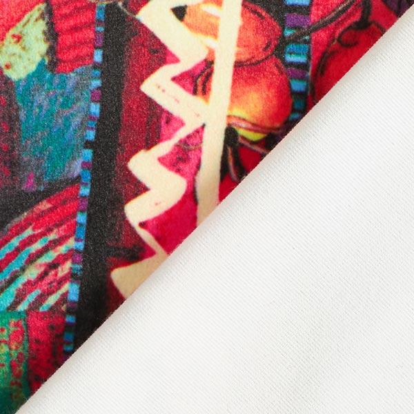 Velours stretch super doux Formes abstraites – rose vif/rouge