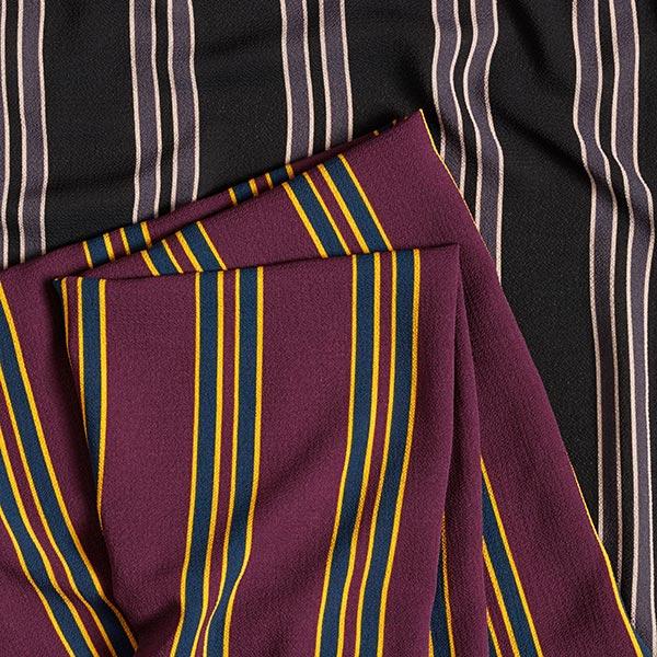 Tissu pour chemisier Tissu crêpe Grosses rayures – rouge bordeaux/navy