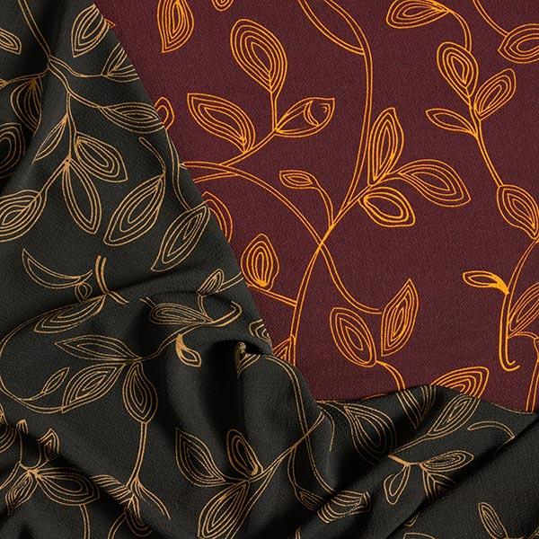 Tissu pour chemisier Tissu crêpe Rinceaux de feuilles – rouge bordeaux/moutarde