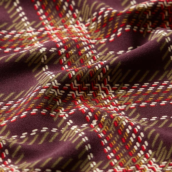 Tissu pour chemisier Stretch Imprimé carreaux – marron foncé/rouge