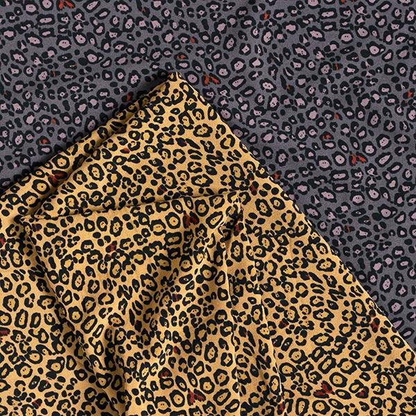 Tissu pour chemisier Stretch Motif léopard – gris foncé/noir
