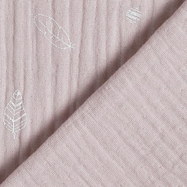 Mousseline coton triple épaisseur Plumes & points – rose clair