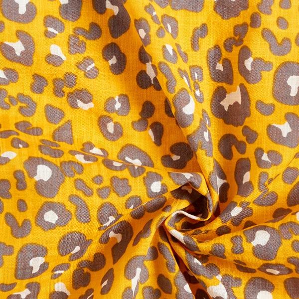 Elégant tissu pour chemisier Mélange coton viscose Imprimé léopard – jaune soleil