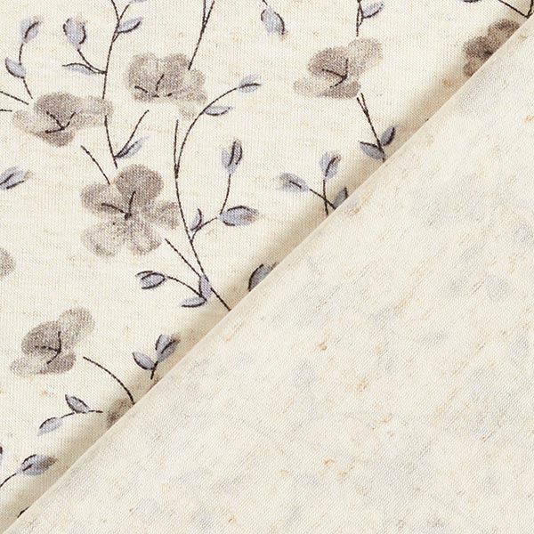 Jersey viscose-lin branches de fleurs – nature/gris clair