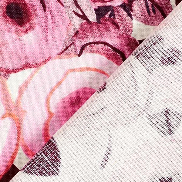 Mélange viscose lin Roses peintes – rose/rouge bordeaux