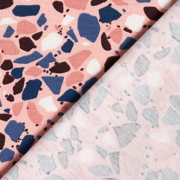 Jersey Stoff Baumwolle Mosaiksteine – lachs/jeansblau