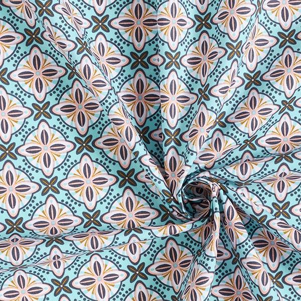 Tissu en coton popeline ornements floraux – bleu clair