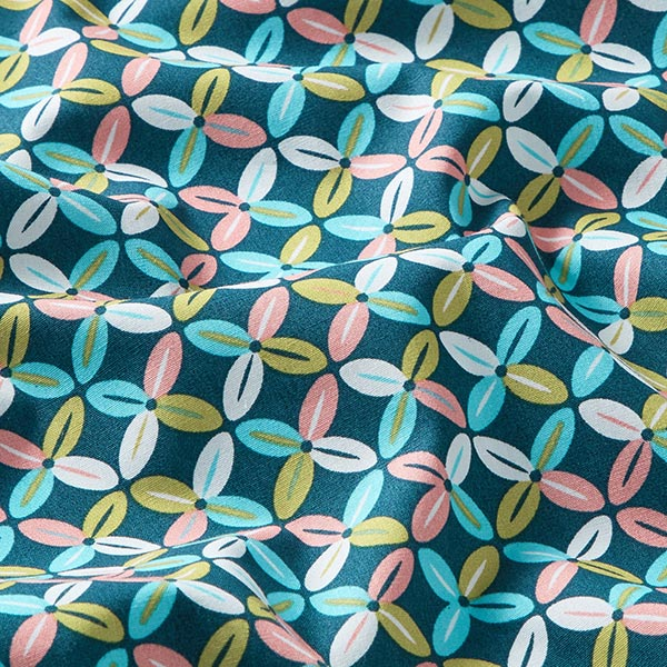 Tissu en coton popeline motif de carreaux fleurs rétro – pétrole légère