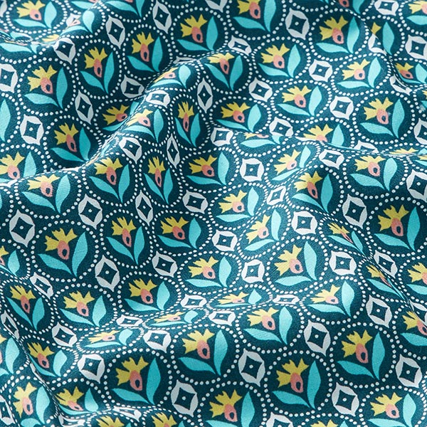 Tissu en coton popeline tampons fleurs ronds – bleu marine