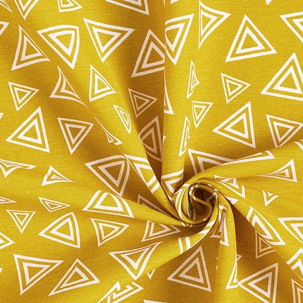 Tissu décoratif toile triangles doubles – jaune curry