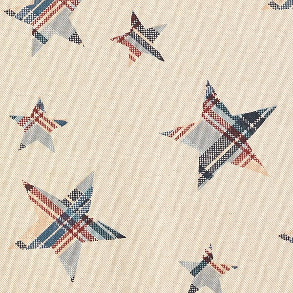 Tissu décoratif semi-panama étoiles à carreaux – nature/carmin