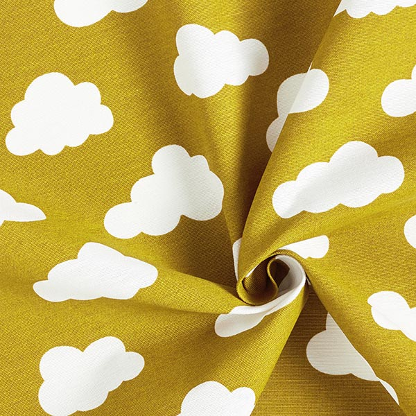 Tissu décoratif toile nuages – jaune olive