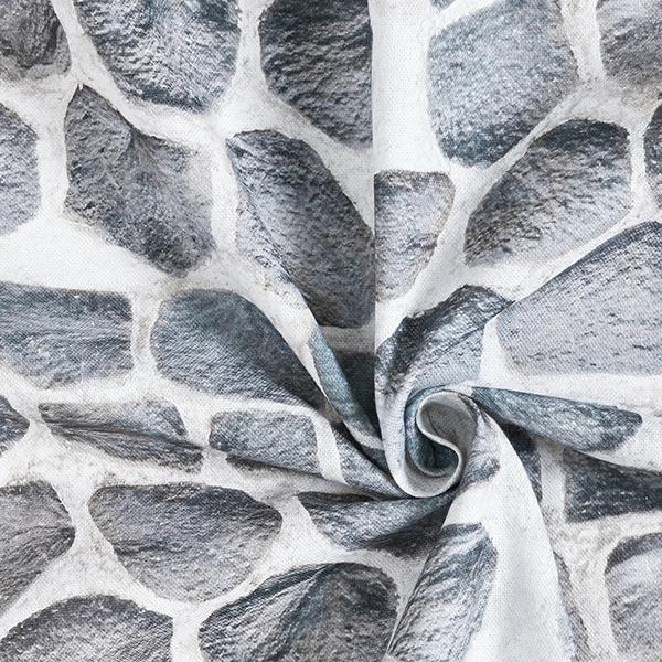 Tissu décoratif semi-panama mur de pierre imprimé numérique – nature/gris
