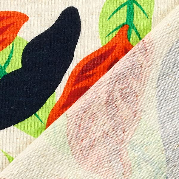 Jersey viscose Grandes feuilles – nature/orange
