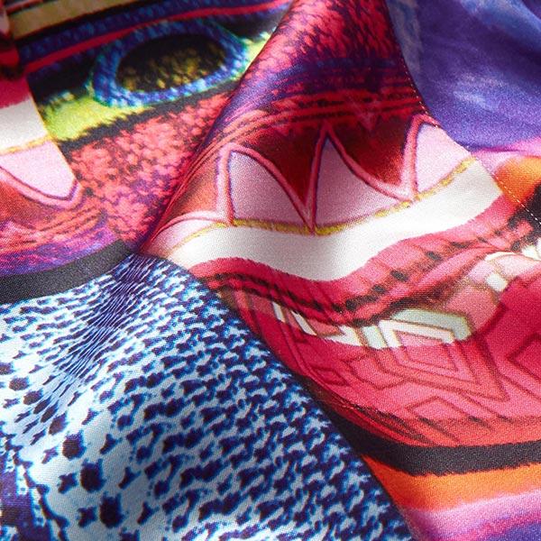 Satin de polyester Stretch Mélange de motifs – orange/rose vif