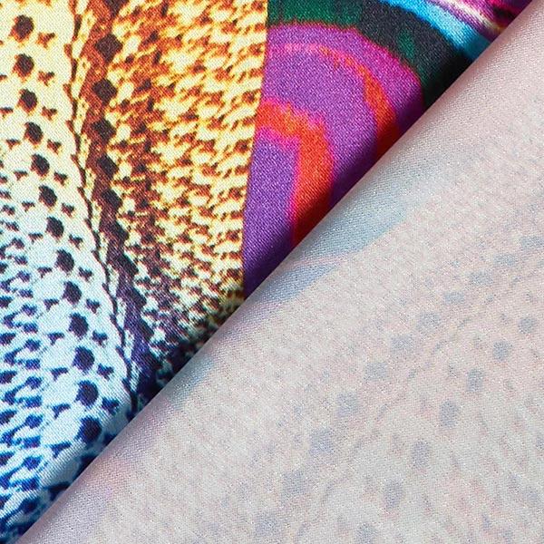 Satin de polyester Stretch Mélange de motifs – orange/lilas