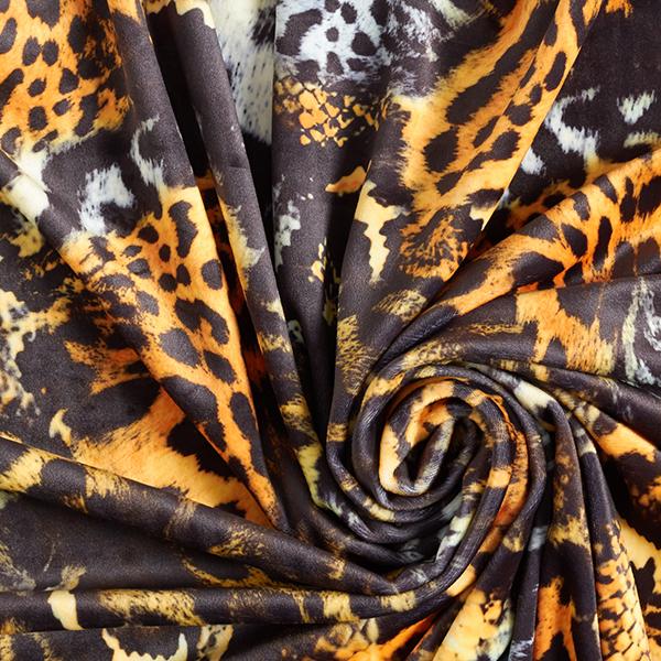 Velours stretch extra doux Imprimé animal – noir/orange