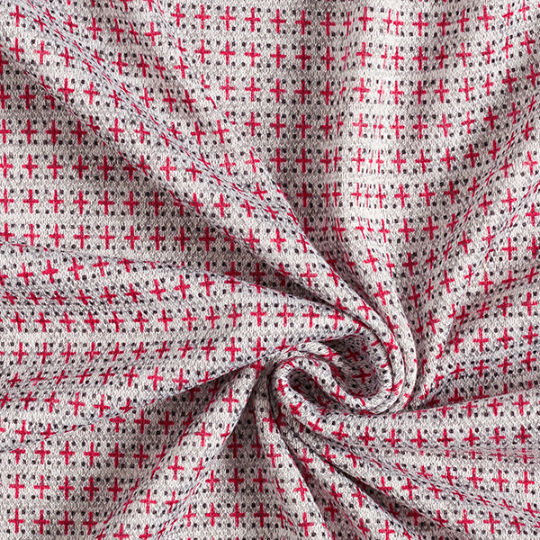 Tricot Mélange viscose Croix – gris/rouge