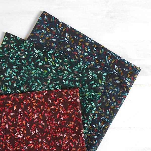 Cretonne Rinceaux de feuilles – vert foncé