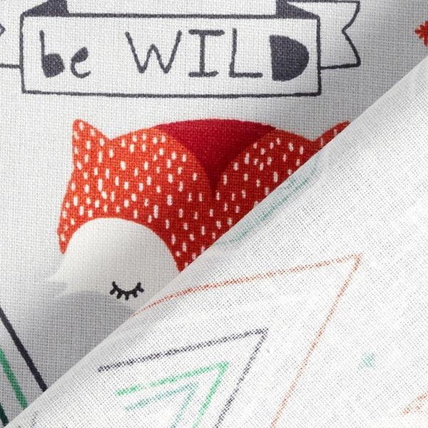 Cretonne coton Be wild in summer camp Renard – argent