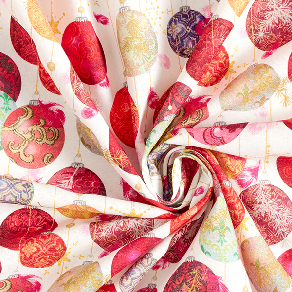 Tissu en coton Cretonne Boules de sapin de Noël