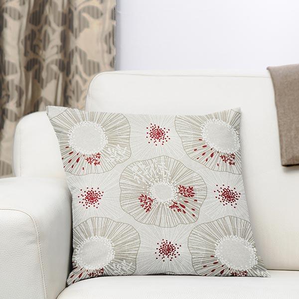 Semi-panama Grandes fleurs – nature/rouge