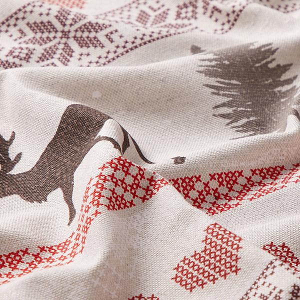 Tissu de décoration Semi-panama Bordure d'élans – nature