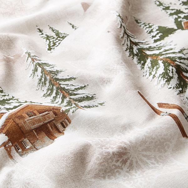 Tissu de décoration Semi-panama Paysages d'hiver – beige
