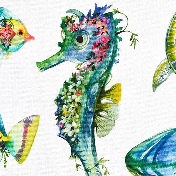 Tissu de décoration Semi-panama  Animaux marins – vert