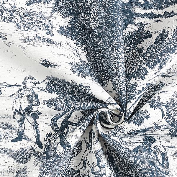 Tissu de décoration Semi-panama Toile de Jour – bleu marine/écru