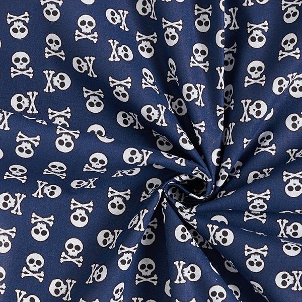 Tissu en coton Cretonne Têtes de mort – bleu marine