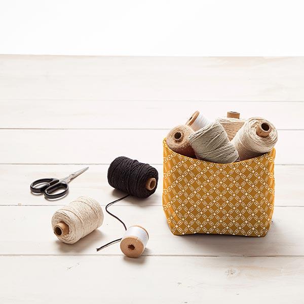 Tissu en coton Cretonne Cercles Ronds – moutarde