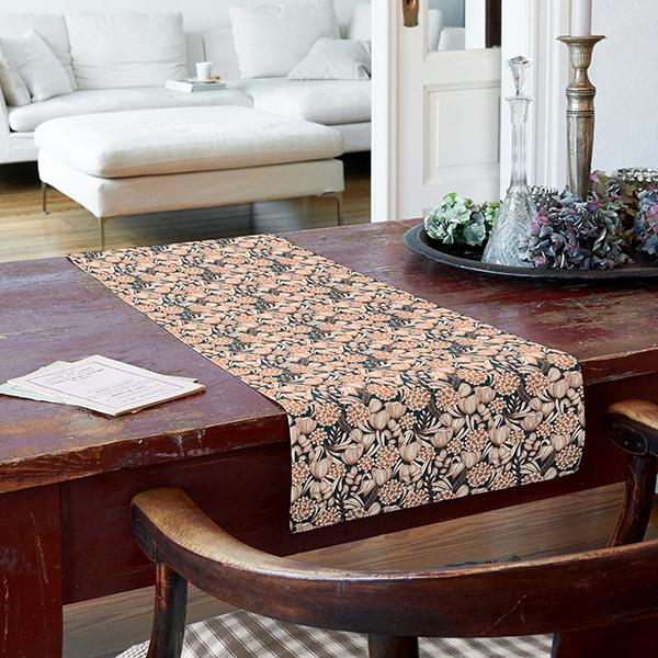 Tissu en coton Cretonne Fleurs – pétrole/terre cuite