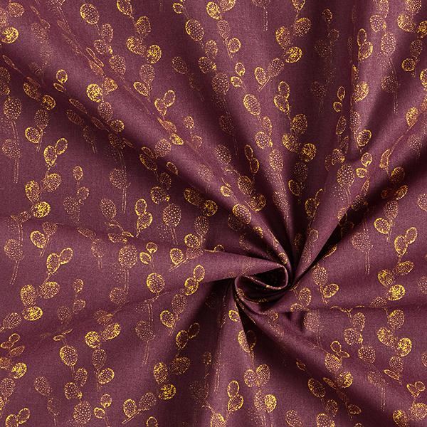 Tissu en coton Cretonne Bourgeons – aubergine