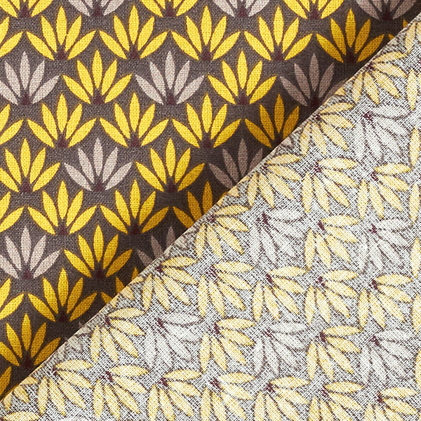 Tissu en coton Cretonne Nénuphars – moutarde/gris foncé