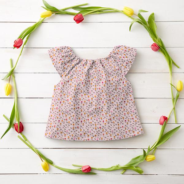 Baumwollpopeline Blumenwiese – rosé