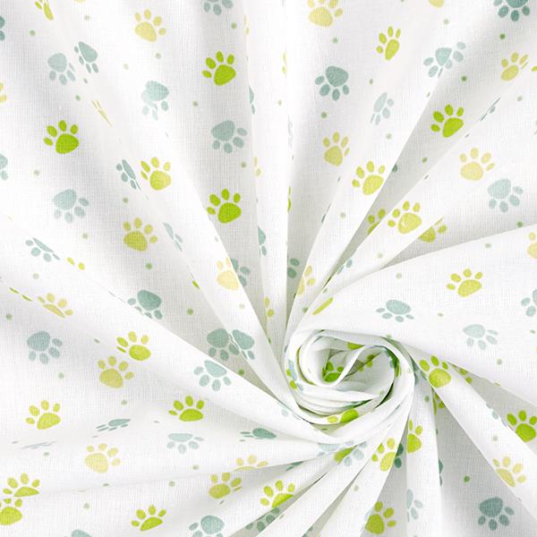 Popeline coton Pattes – blanc/vert