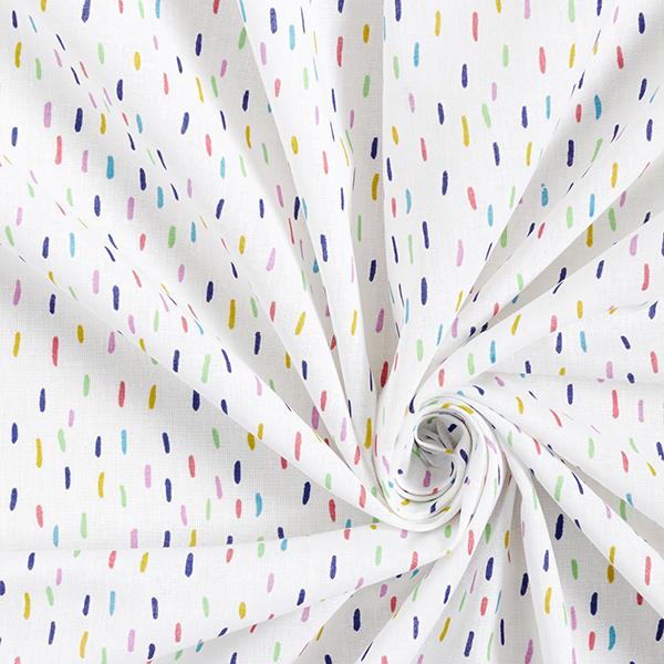 Popeline coton Traits multicolores – blanc