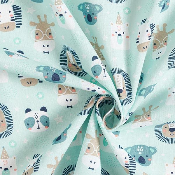 Baumwollpopeline Party-Tiere – aquablau