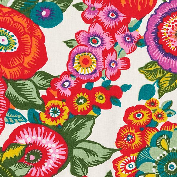 Tissu en coton Cretonne  Floral – rouge