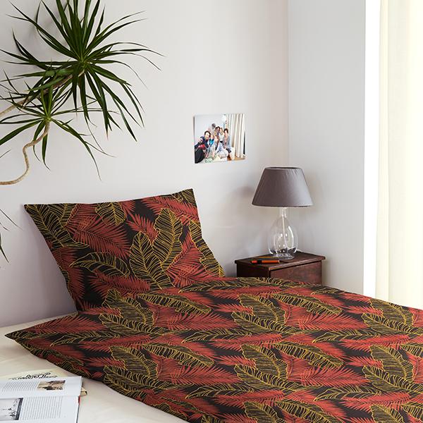 Tissu en coton Cretonne Feuilles de palmier – terre cuite