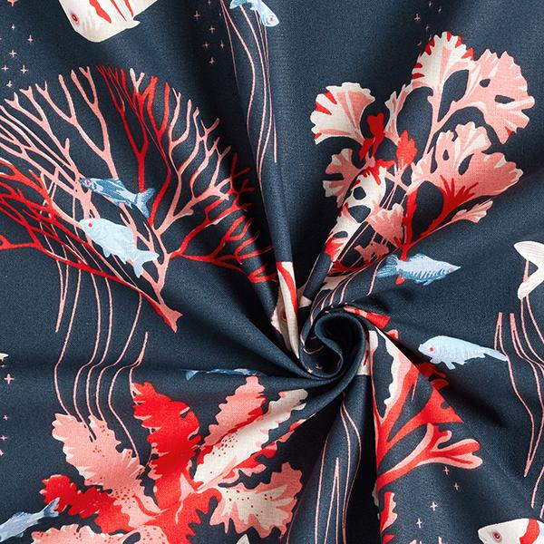 Tissu en coton Cretonne  Poissons – corail