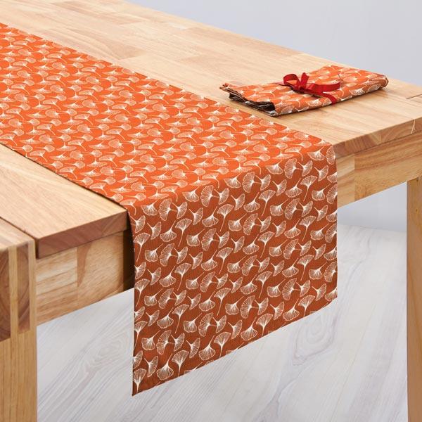 Tissu en coton Cretonne  Ginkgo – terre cuite
