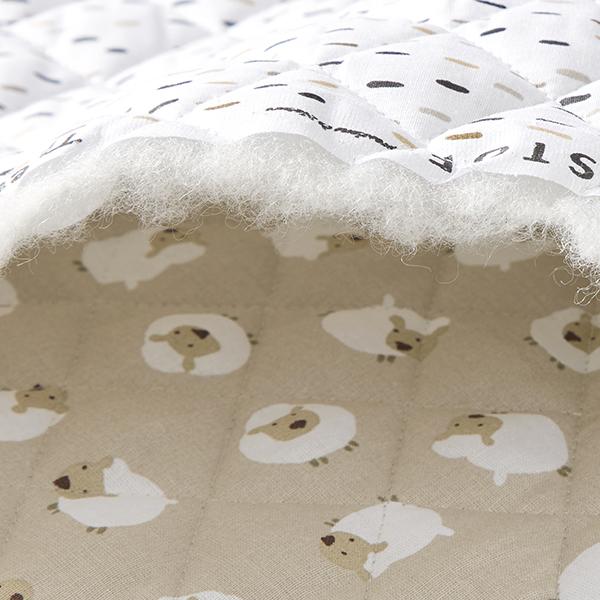 Tissu matelassé Double face Moutons/Traits – sable