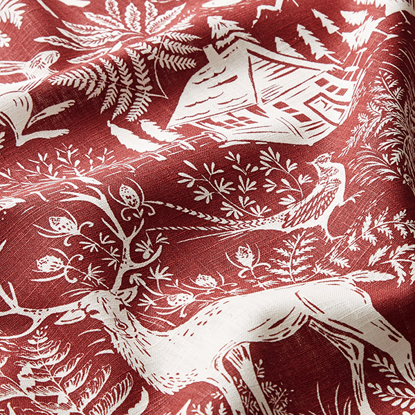 Lin de décoration Paysage forestier – rouge bordeaux