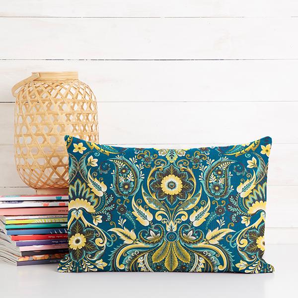 Tissu de décoration Satin de coton Paisley – pétrole