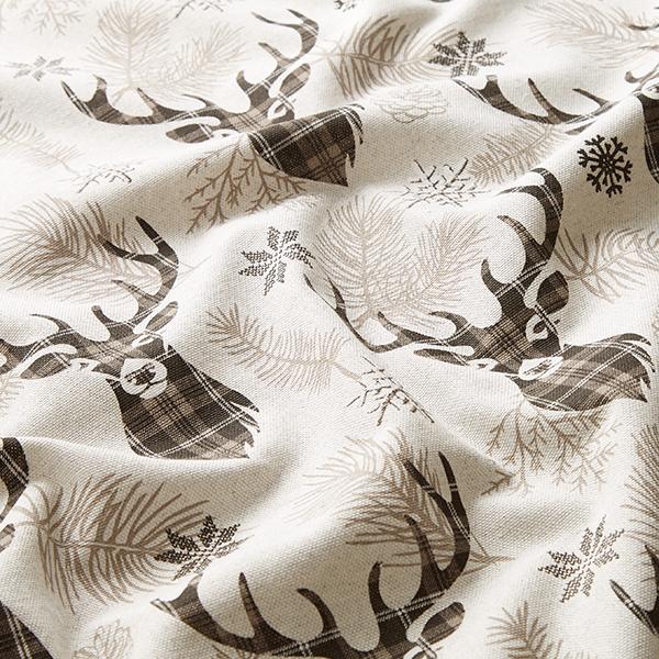 Tissu de décoration Semi-panama Hiver Cerf – marron foncé/nature