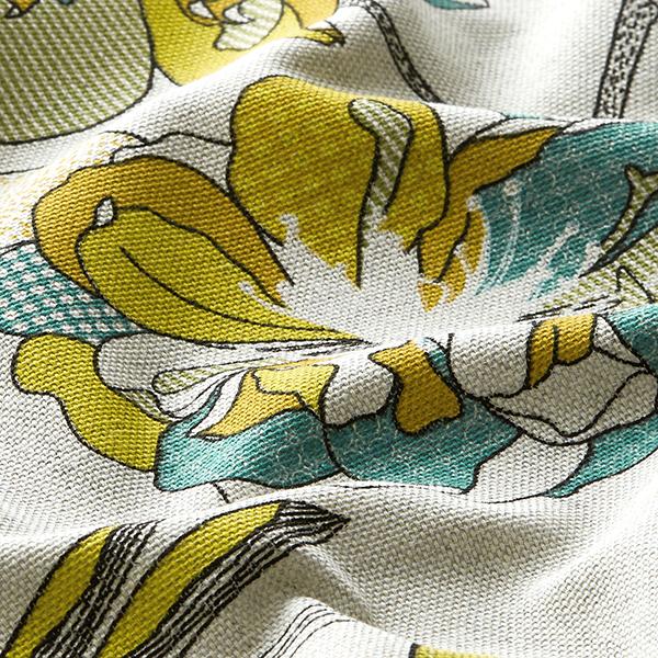 Tissu de décoration Semi-panama  Rinceaux de fleurs – moutarde