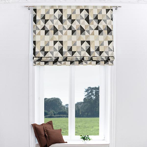 Tissu de décoration Semi-panama  Triangles – gris