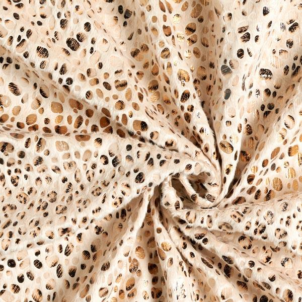 Polaire douillet imprimé feuille léopard – crème